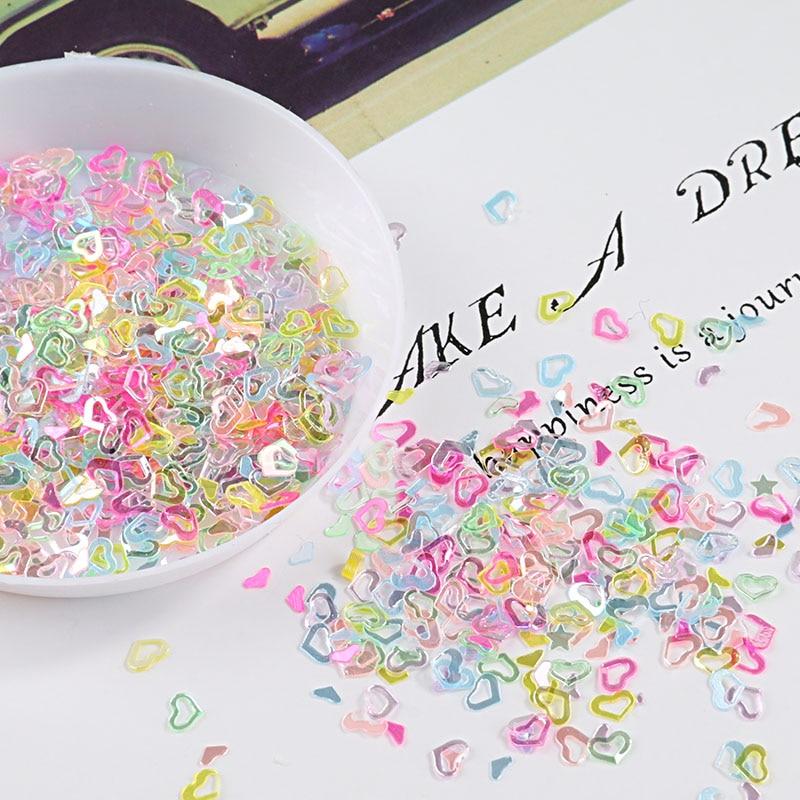 Multi Цвет Кристалл Блестки корабль 4 мм полые сердце блестками пайетками ногтей, свадебные конфетти, слизь DIY аксессуары 10g