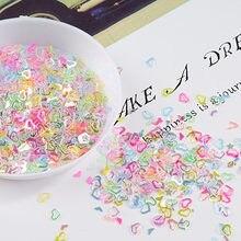 Multi Cor Cristal Lantejoulas Craft 4 milímetros Oco Heart Glitter Lantejoula Paillettes Nail Art, Confete De Casamento, slime DIY Acessórios 10g