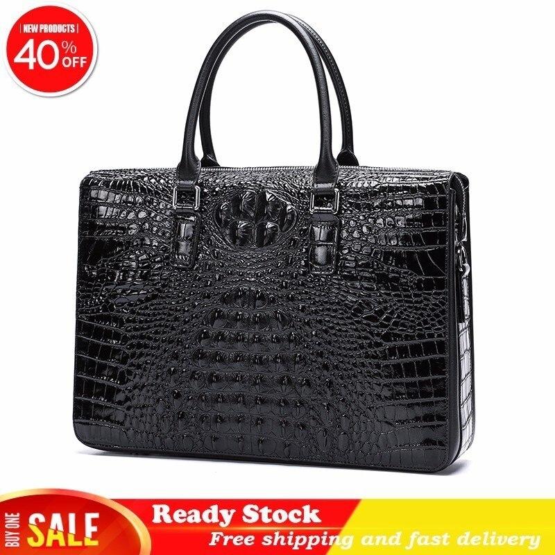 Men Briefcase Bag Handbag Crocodile Pattern Cow Leather Man Shoulder Messenger Bag Password Lock Computer Business Free Shipping
