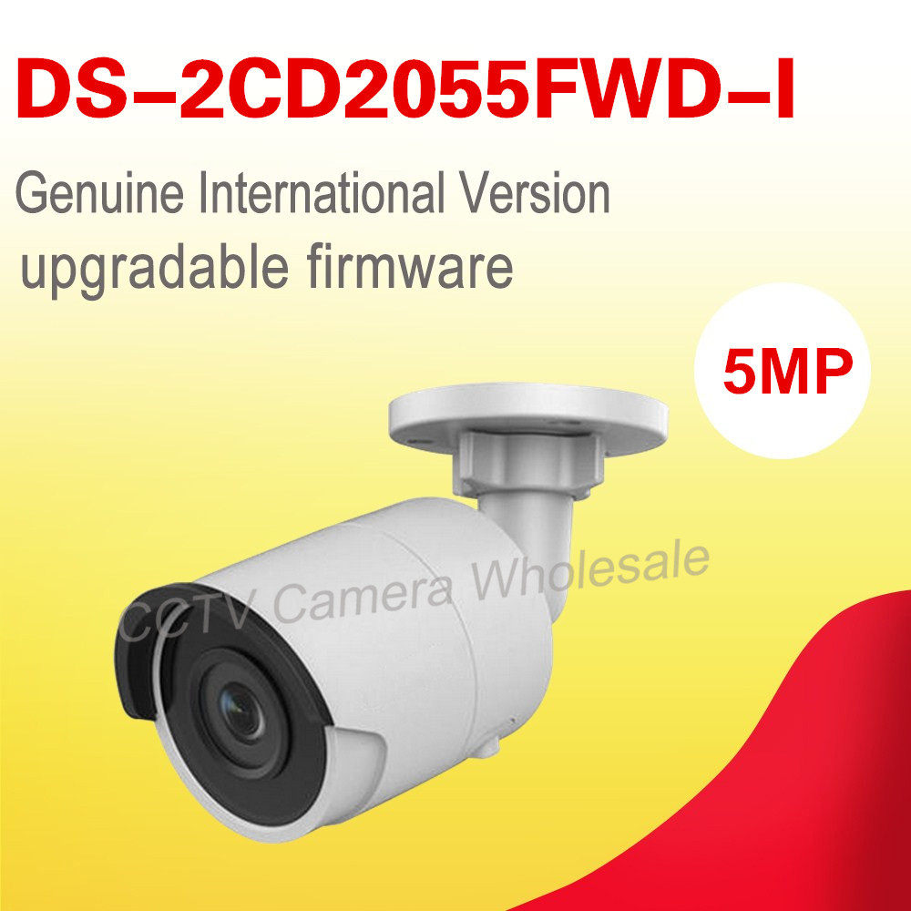 English version DS-2CD2055FWD-I 5MP mini Network Bullet CCTV IP Camera POE, WDR, 30m IR, SD card recording, H.265+