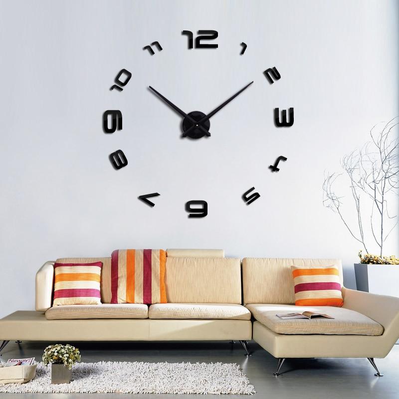 2019 3d diy qonaq otagi yeni akril kvars saati divar saati diy divar - Ev dekoru - Fotoqrafiya 4
