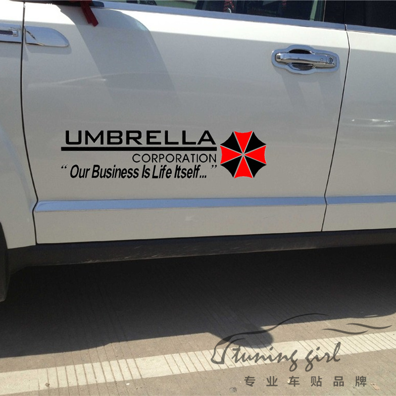 Автомобильные наклейки зла зонт Корпорация наклейки творческий житель Водонепроницаемый авто Тюнинг стайлинг 50x12cm & 100x23cm Д15