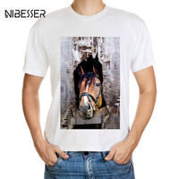NIBESSER Brand Horse Printed T Shirts Men Fashion 3D Animal Pattern Tee Shirts Male Short Sleeve
