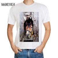 NIBESSER Brand Horse Printed T Shirts Men Fashion 3D Animal Pattern Tee Shirts Male Short Sleeve