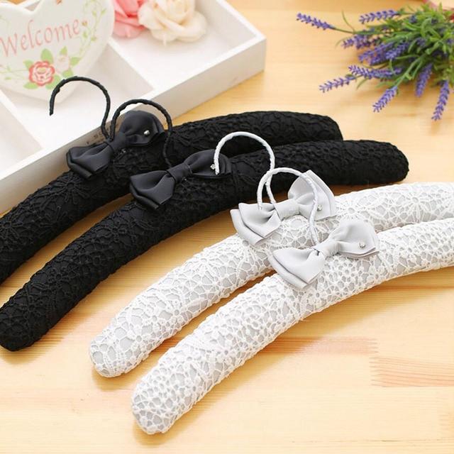 10 Pcs Fancy White Black Lace Fabric Hanger For Wedding Dress Elegant Satin Clothes