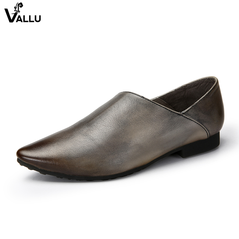 2018 VALLU Handmade Genuine Leather Women Flat Shoes Pointed Toes Slip On Loafers Soft Comfortable Vintage Ladies Flats vallu spring summer women flats genuine leather pointed toes handmade original shoes basic women ballerina slip on flat shoes