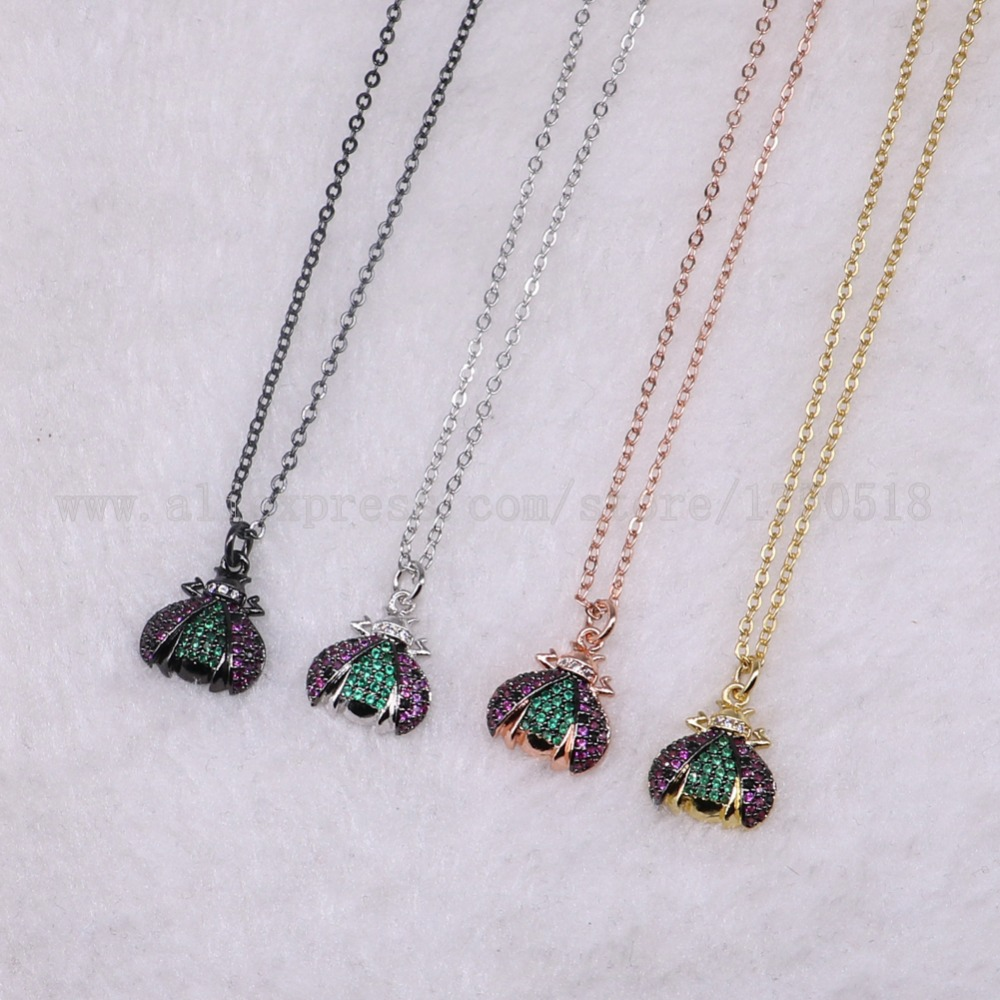 5 strands Tiny bugs necklace fly insects for lady Bee pendants small size jewelry 18 mix color necklace pets beads 3215