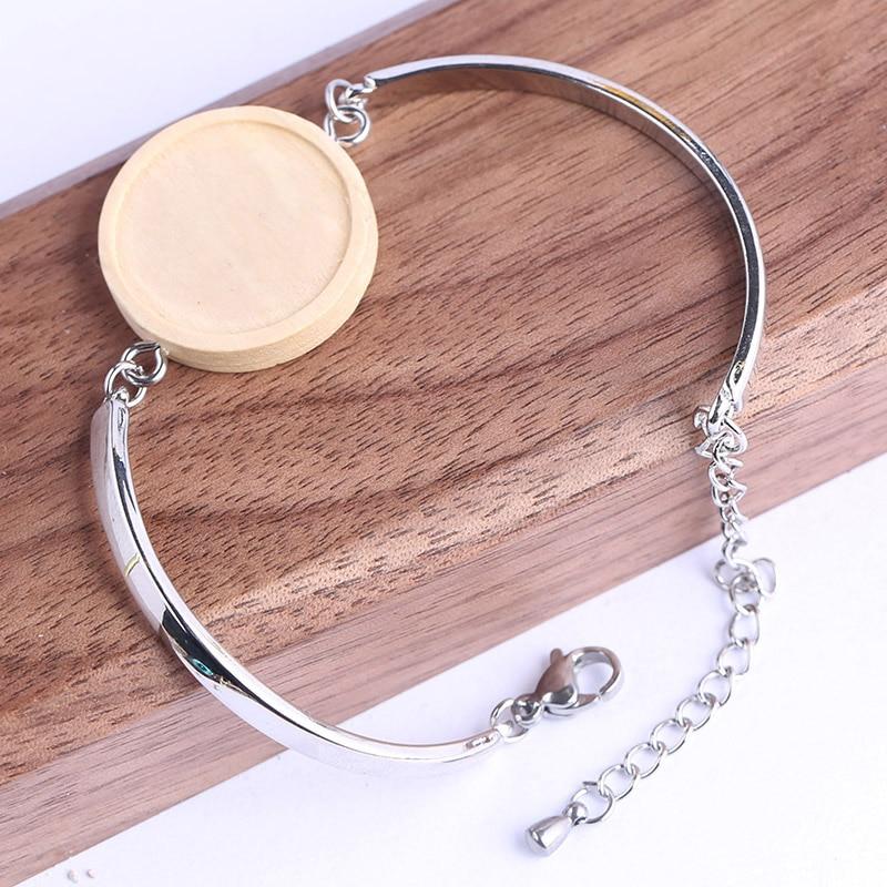 shukaki 5pcs Fit 20mm round blank wood cabochon bracelet base settings diy  cuff bangle bezel trays for jewelry making