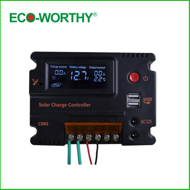 20A Solar Charger Controller 3A 5V USB Output Voltage & DC 12V/24V  LCD Solar Panel Battery Regulator Charging for Lighting