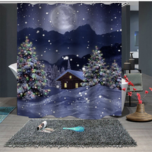 цена на Christmas Santa Claus Print Waterproof Shower Curtain Polyester Fabric Bath Curtain Home Bathroom Curtains with Hooks New Year