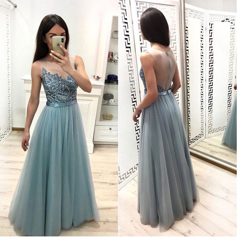 Full Length Smoke Green   Prom     Dresses   A-line Scoop Neck 2019 Formal Evening Party   Dresses   Illusion Zipper Back Tulle   Prom   Gowns