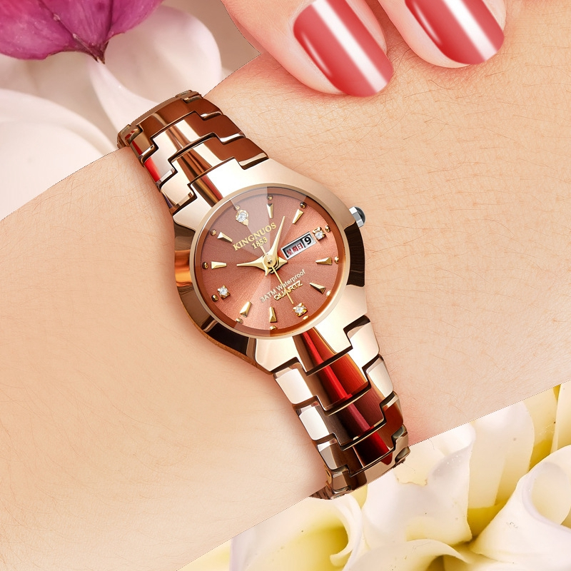 KINGNUOS Stainless Steel Luxury Lover Couple Watch Women Men 2019 Quartz Wristwatch Ladies Clock  Relogio Feminino Fashion Dress