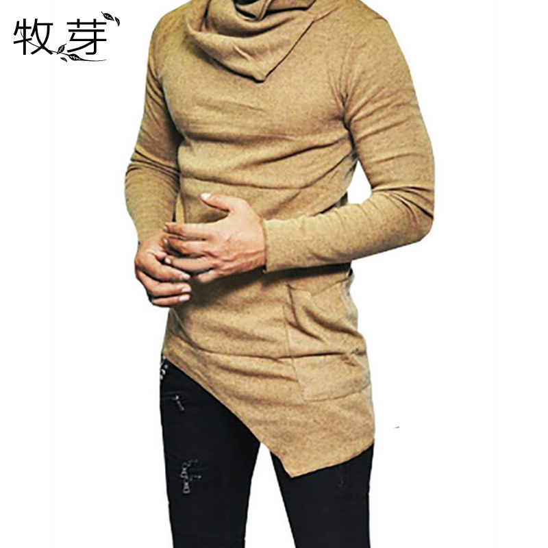 Men's Irregular Stack collar t shirt Turtleneck Cowl neck long sleeve Sweater t-shirt Slim Fit Jumper Pullover Blouse Tops Shirt