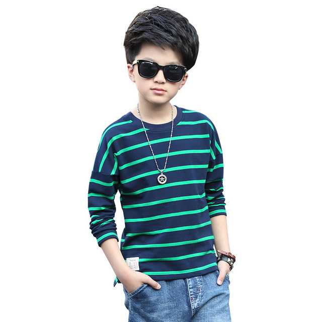 School Boys Tees Cotton Striped T-Shirts For Boys Clothing Children Bottoming Shirts 4 5 7 9 11 13Years Spring Teenage Kids Tops