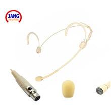 Beige headset micrófono de condensador profesional conferencia microfone para akg samson transmisor inalámbrico mini xlr $ number pines mikrofon
