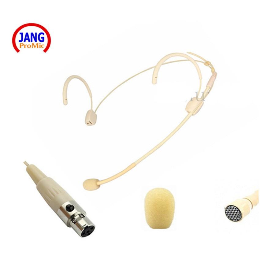 Profesionální Béžová Headset Kondenzátor Zobrazit Mikrofon Host Mikrofon pro AKG Samson Bezdrátový Vysílač Mini XLR 3Pin Mikrofon