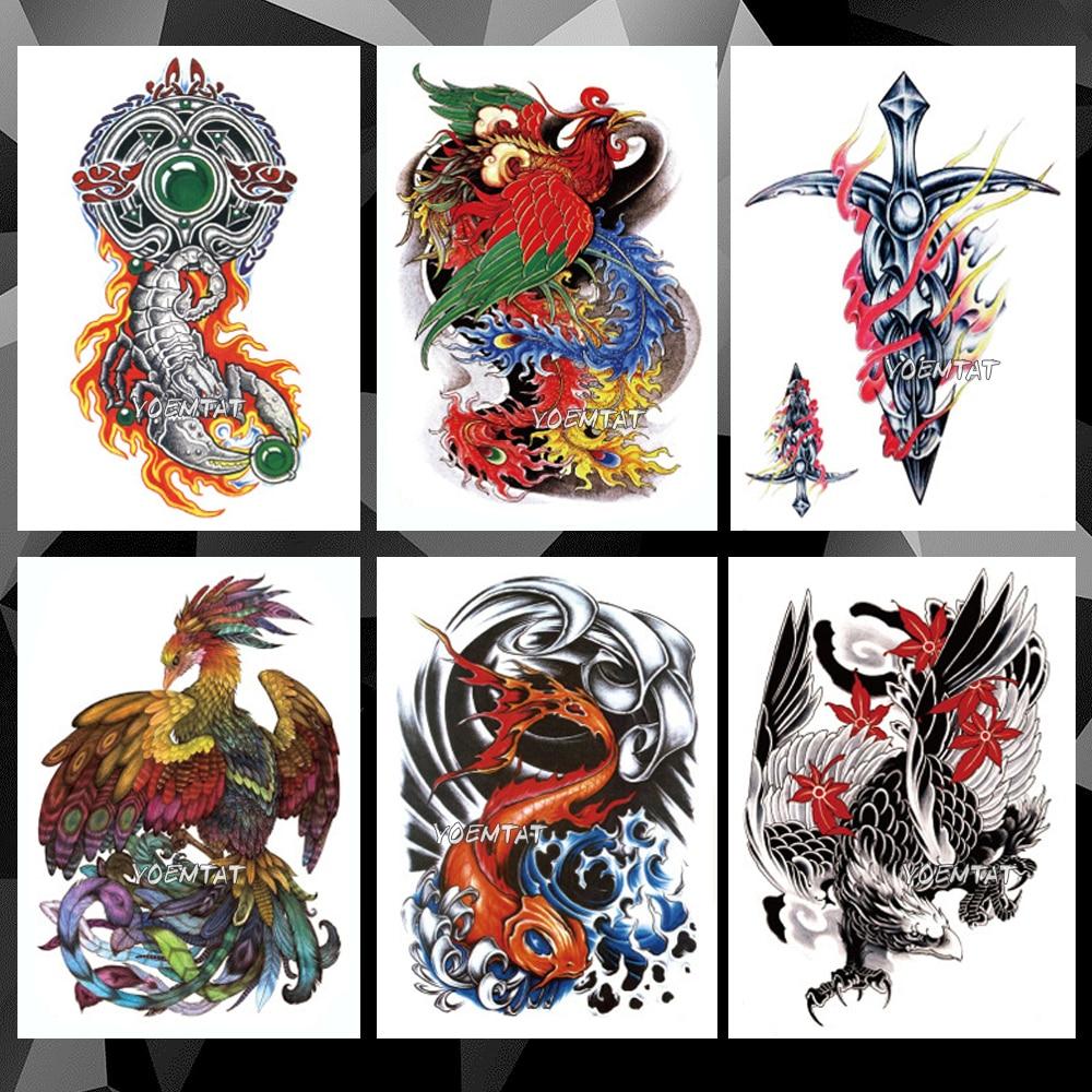 Phoenix Scorpion Carp Waterproof Temporary Tattoo Sticker Japanese Animals Flash Tattoos Body Art Arm Fake Sleeve Tatoo