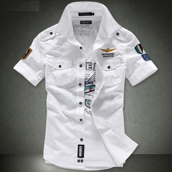 2018 NEW short sleeve shirts Fashion airforce uniform military short sleeve shirts men's dress shirt free shipping 1