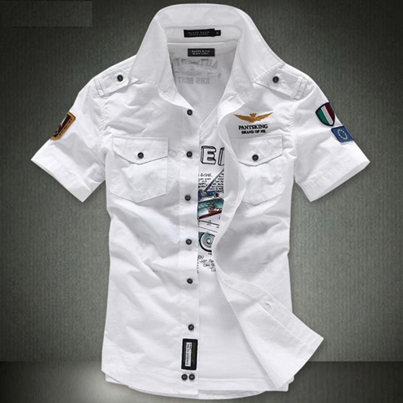 2018 NEW short sleeve shirts Fashion airforce uniform military short sleeve  shirts men s dress shirt free shipping-in Casual Shirts from Men s Clothing  on ... 90d72fc7b67