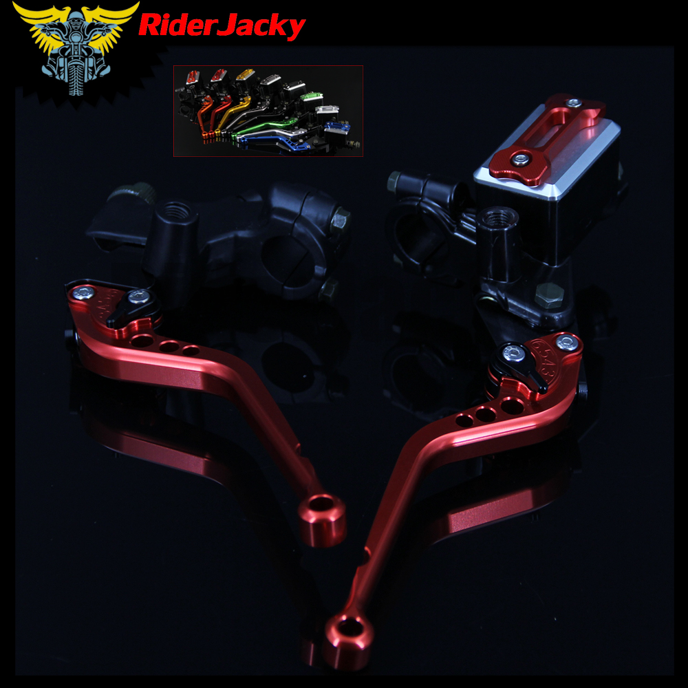 RiderJacky CNC Red Motorcycle Master Cylinder Reservoir Hydraulic Brake Cable Clutch Levers For YAMAHA 125-300CC MT 125 YZF R125 for yamaha yzf r125 2008 2011 motorcycle accessories aluminum short brake clutch levers red