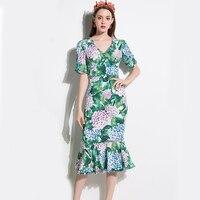 Fashion Sexy Dresses 2017 Summer V Neck Half Sleeve Floral Print Mid Calf Green Slim Elegant