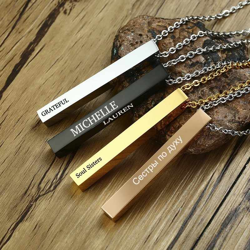 Engraved 3D Vertical Bar Necklace in Golden Solid Stainless Steel Personalized Name Date Pendant for Men Women Jewelry