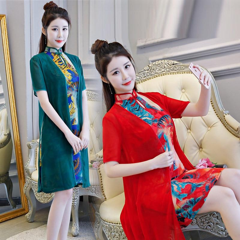 Qipao Fiore Stile Della Elegante Slim 1 Nuovo Breve Dress Formato Delle Mandarino Del Lady Cheongsam M Arrivo Donne Stampa Collare Novità 2 Cinese 3xl wI5XUxvq