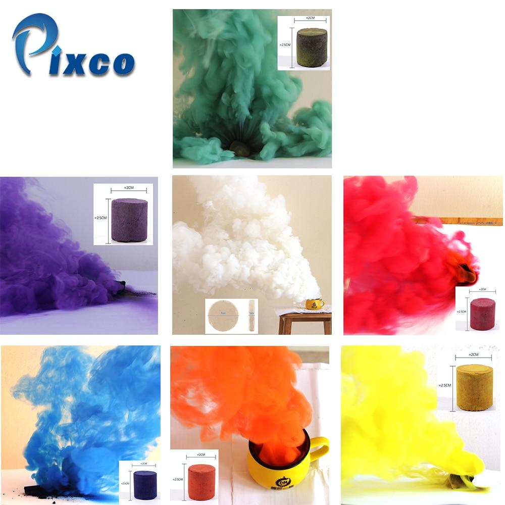 6 piezas amarillo + 1 Efecto de humo blanco para fiestas, humo niebla Fondo horror estudio fotografía Props DIY torta humo