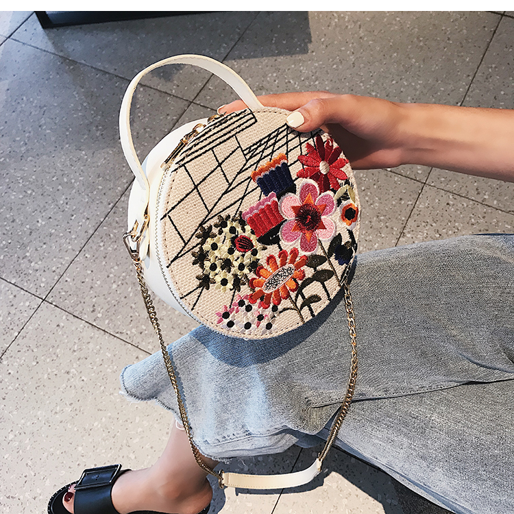 Bolsa Redonda con Bordado Flor