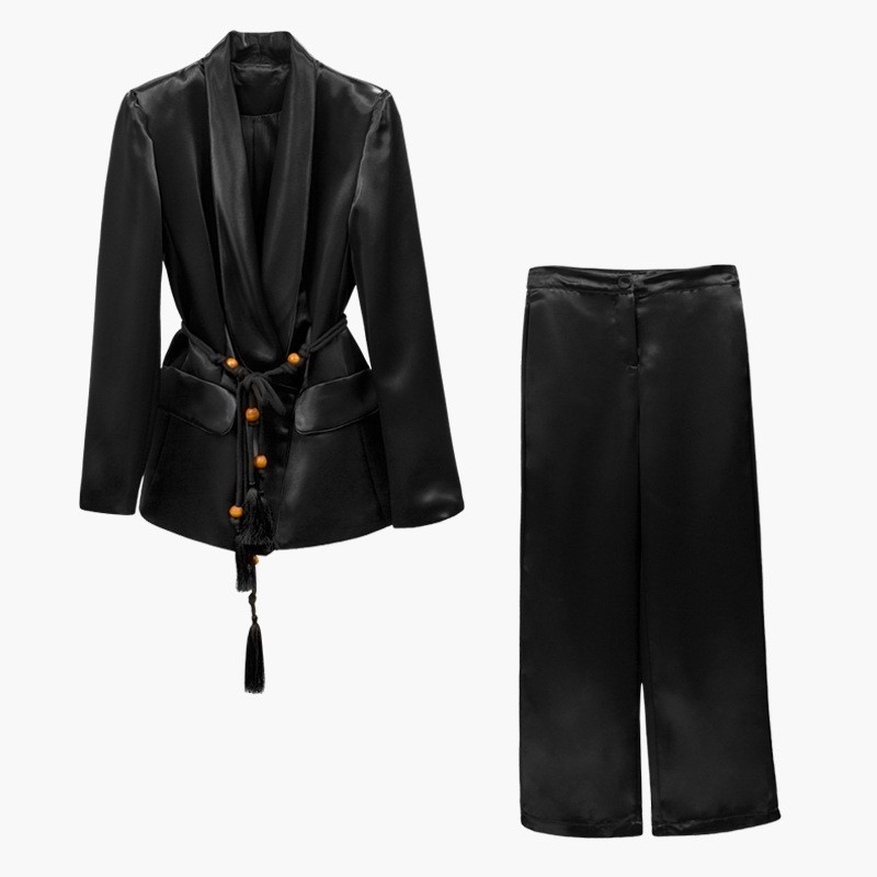 TWOTWINSTYLE Lace Up Women's Suits Long Sleeve Blazer Coats High Waist Wide Leg Pants Two Piece Sets 2019 Autumn Fashion Style