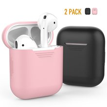 2 Pack AirPods Case Premium Silicone Cover Skin for Charging [Upgrade Version] (Black,Pink)