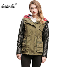 Angela&Alex 2017 New Arrival Women Winter Jacket  High Quality Warm Female Parka Hooded Womens Outwear Spliced PU  Sleeve