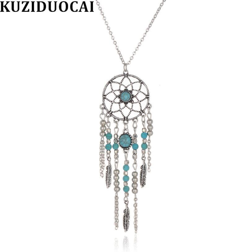 Kuziduocai New Fashion Jewelry Catching Dream Mesh Shape Beaded Leaves Chain Long Necklaces Pendants For Women Colgantes Collier