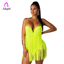 Adogirl Spaghetti Straps Sexy Camis Skirt 2 Two Piece Set 2019 Summer Women Fashion Neon Green Tassel Solid Evening Party Dress