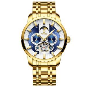 Image 2 - TEVISE ساعة الرجال توربيون التلقائي ساعة القمر المرحلة مضيئة Waterprof الميكانيكية ساعة اليد أداة T856A هبوط السفينة
