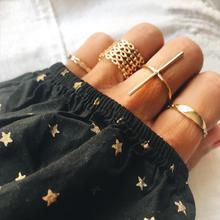 2019 New 7pcs/set Bohemian Geometric T Bar Sequins Ring Set Punk Gold Alloy Knuckle Midi Finger Rings Jewelry