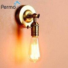 Пермо Винтаж латунь бра настенные светильники Лофт E27 покрытием гладить Ретро промышленных настенный светильник украшения для домашнего бара кровать рядом с лампа