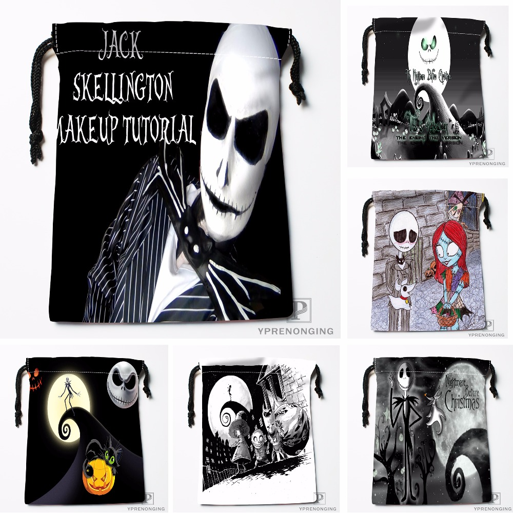 Custom Nightmare Before Christmas Drawstring Bags Travel Storage Mini Pouch Swim Hiking Toy Bag Size 18x22cm#0412-03-30