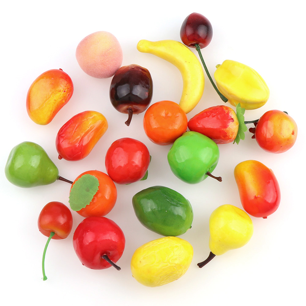 About 20Pcs Educational Simulation Miniature Food Model Artificial Fruits Kids Kitchen Toys For Children Girls DecorationAbout 20Pcs Educational Simulation Miniature Food Model Artificial Fruits Kids Kitchen Toys For Children Girls Decoration