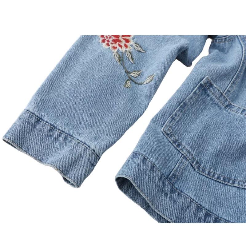 Chaqueta de las mujeres Tops Bordado Floral Delgado Jeans Chaquetas Abrigo Para Mujer Denim Casual Chaqueta Ropa Outwear Chaqueta Femme KL237