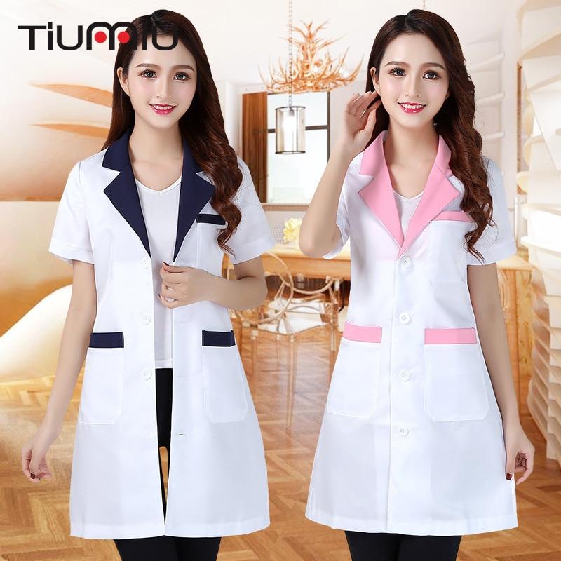 New Arrival Summer Hospital Doctors Uniforms Lady Short Sleeve Medical Clothes Beauty Salon V-neck White Lab Coat Nurse Uniform