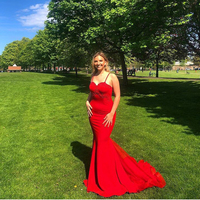 2019 Robe De Soiree Long Red Gorgeous Mermaid Evening Dresses Red Appliques Women Formal Party Dress Prom Gown Vestido De Festa