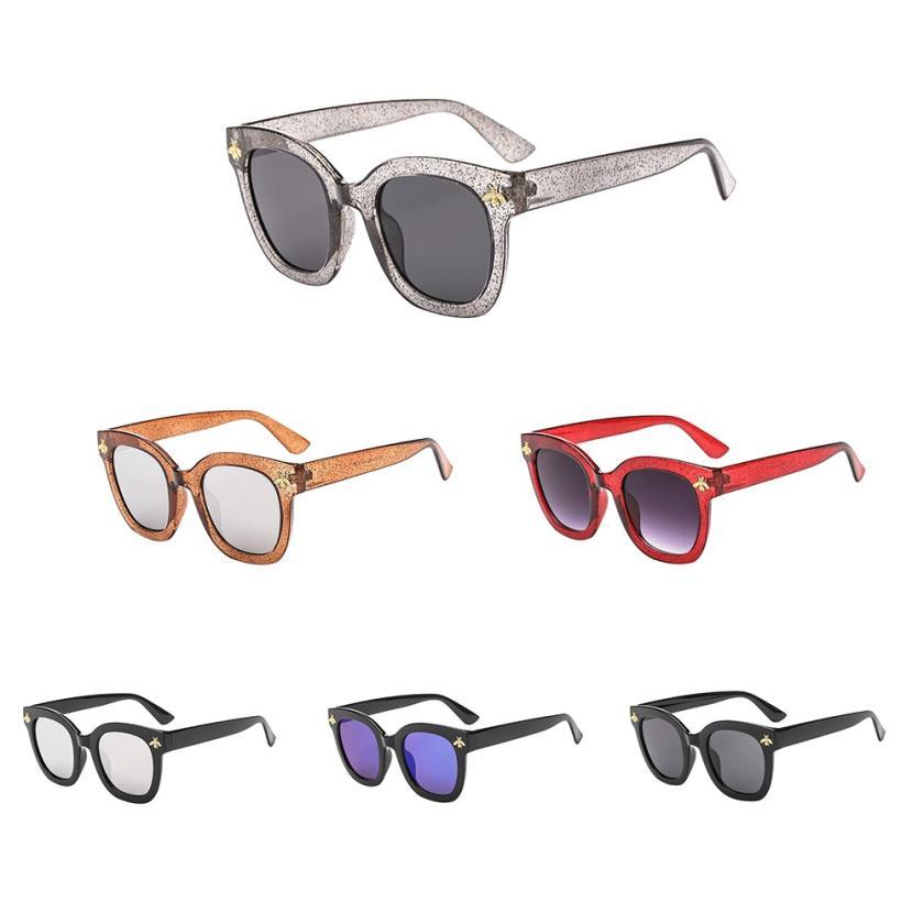#5 2018 NEW Fashion Women Man Vintage Bees Sunglasses Retro Big Frame Eyewear Fashion