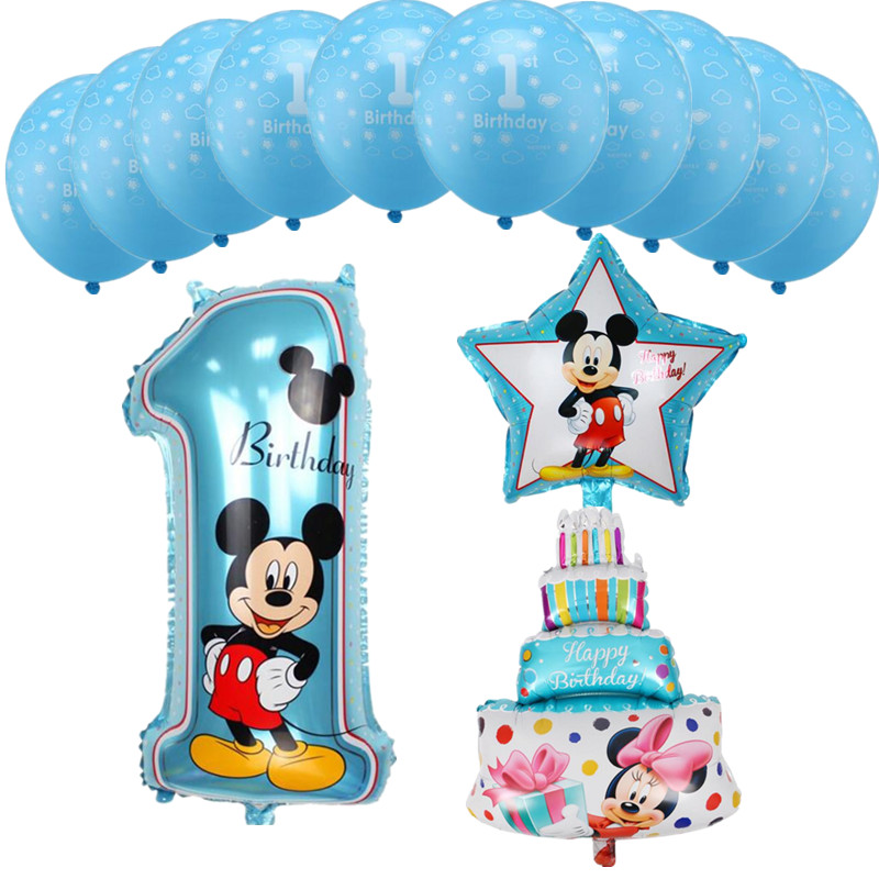 13pcs Blue Pink Mickey Minnie Number 1 Foil Balloons Baby Shower 1st Birthday Latex Balloon Kids Toys Party Decor Supplies