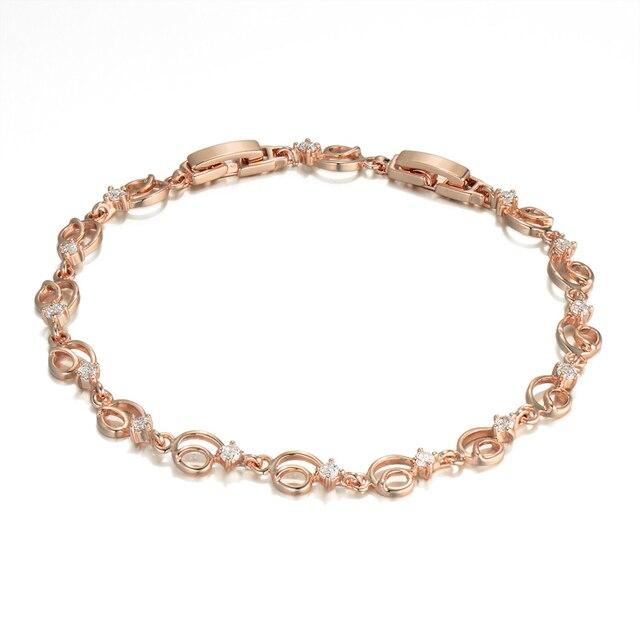 Stylish Good Luck Charm Bracelets For Women, Trendy Cubic Zirconia Gold Color Bracelet Jewelry New