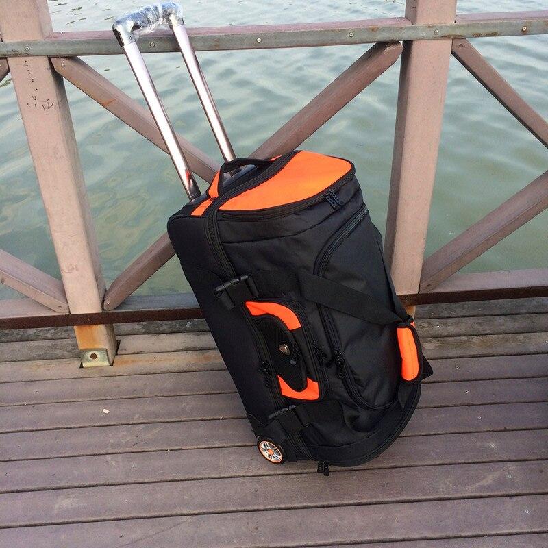 -Grande capacidade mala de Viagem mala rolando bagagem saco de Oxford, carrinho de caso das mulheres dos homens 27