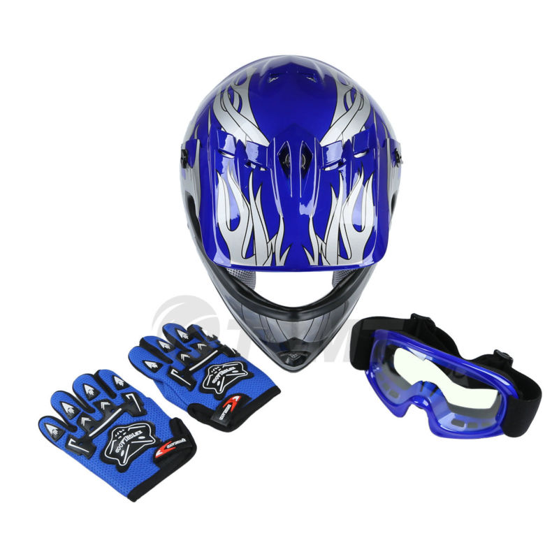 New DOT Youth Blue Flame Dirt Bike ATV MX Boy Motocross Motorcycle Helmet Goggles+gloves S M L