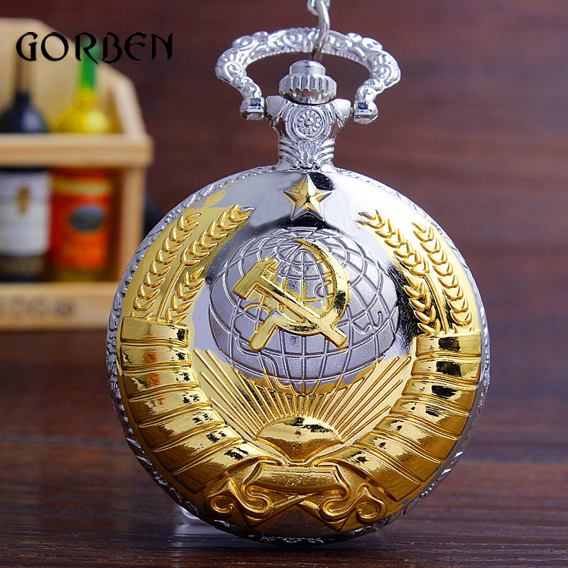 Fashion Soviet Sickle hammer Vintage Pocket Watch Necklace Pendant Women Men Quartz Watches Chain orologio taschino Gifts pro table tennis pingpong combo racket galaxy yinhe t 6 blade with 2x dhs neo hurricane3 rubbers