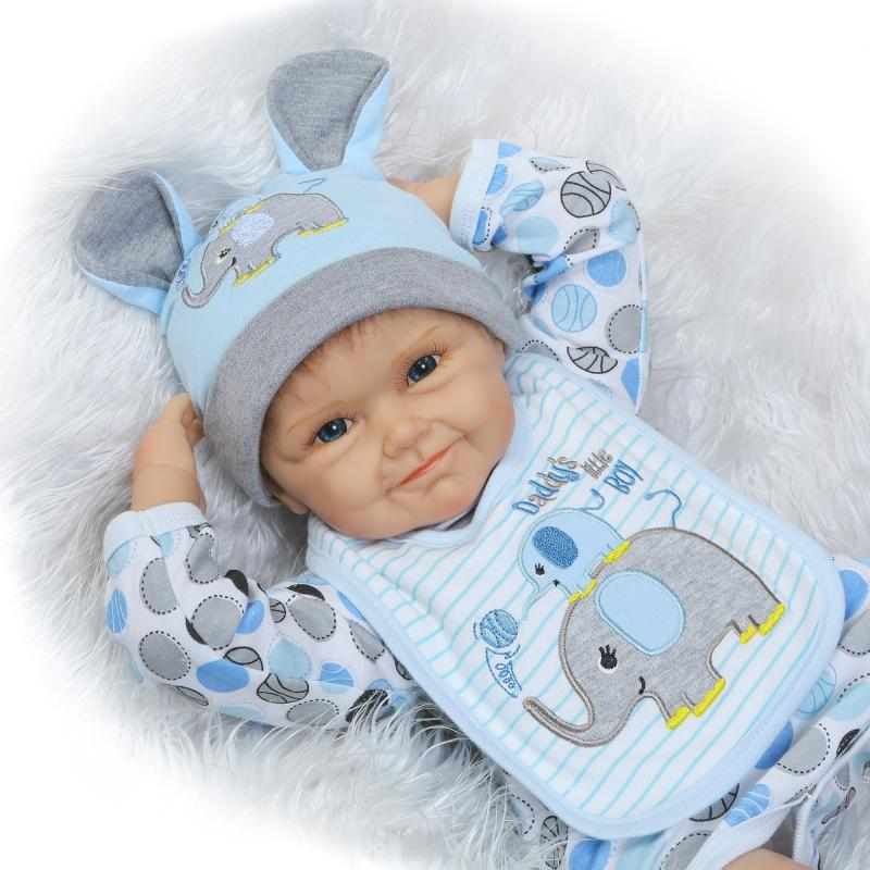 55cm Silicone Reborn Baby Boy Doll Toy Lifelike Soft Body Newborn Babies Doll Birthday Gift Girl Brinquedods Play House Toy 50cm silicone reborn baby doll toy lifelike baby reborn sleep newborn boy doll play house toy kids birthday gift girl brinquedos