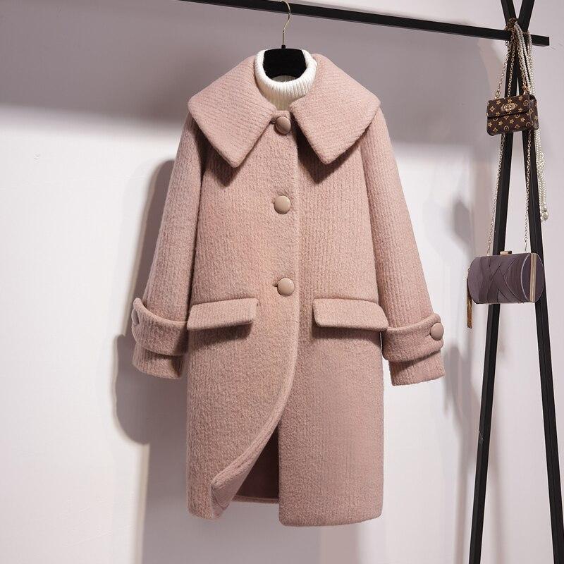 Long À coréen Manteau Turn Hiver Unique Mode En col Pardessus Poitrine Douce Coréenne 2018 Taille Nouvelle Rose Large Laine 6xYEEtqS0w